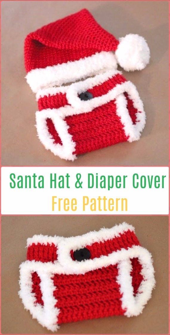 Crochet Santa Hat and Diaper Cover Free Pattern - Crochet Baby Shower Gift Ideas Free Patterns