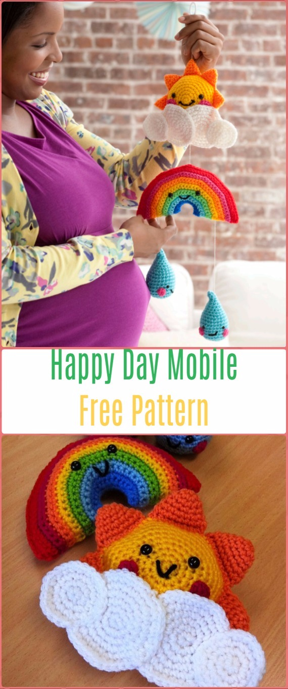 Crochet Happy Day Mobile Free Pattern - Crochet Baby Shower Gift Ideas Free Patterns