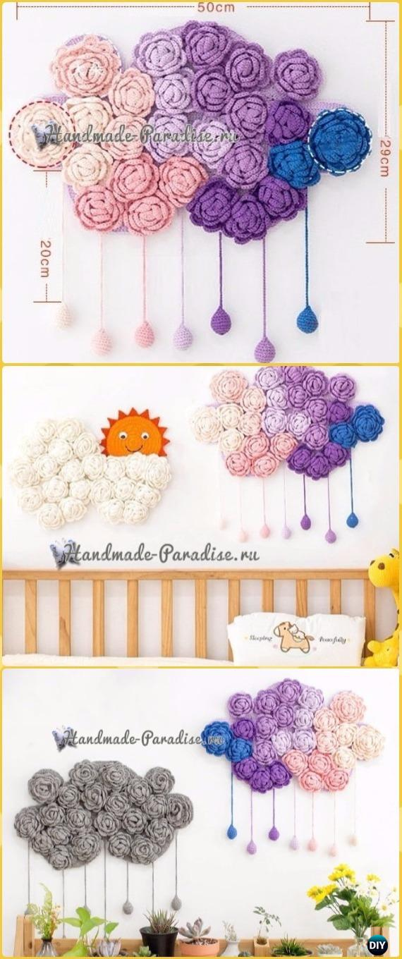 Crochet Rose Clouds Wall Decor Free Pattern - Crochet Baby Shower Gift Ideas Free Patterns