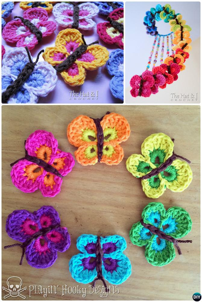 Crochet Bountiful Butterfly Applique Mobile Free Pattern