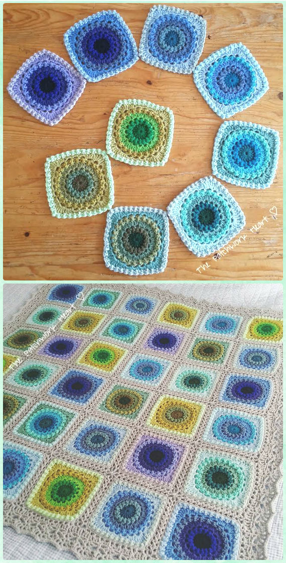 Crochet Circle Of Friends Peacock Square Blanket Free Pattern 10