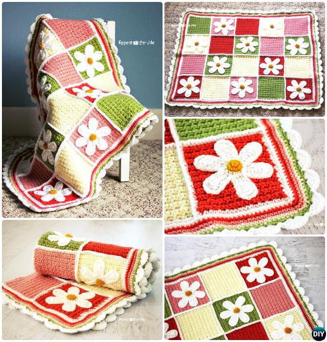 Crochet Daisy Afghan Flower Blanket Free Pattern