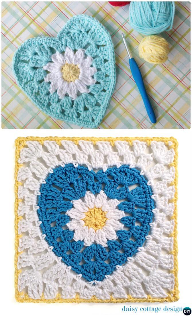 Crochet Daisy Flower Heart Granny Square Free Pattern