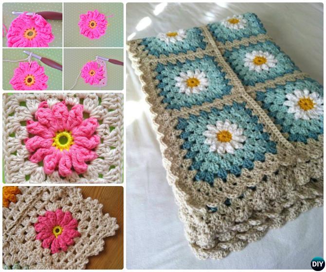 Crochet Daisy Granny Square Flower Blanket Free Pattern