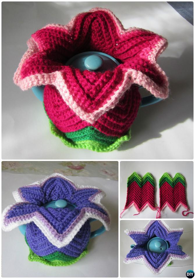 Crochet Daylily Tea Cosy Free Pattern-20 Crochet Knit Tea Cozy Free Patterns