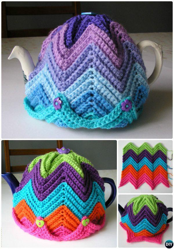 Crochet Easy Ripple Tea Cosy Free Pattern Crochet Knit Tea Cozy Free