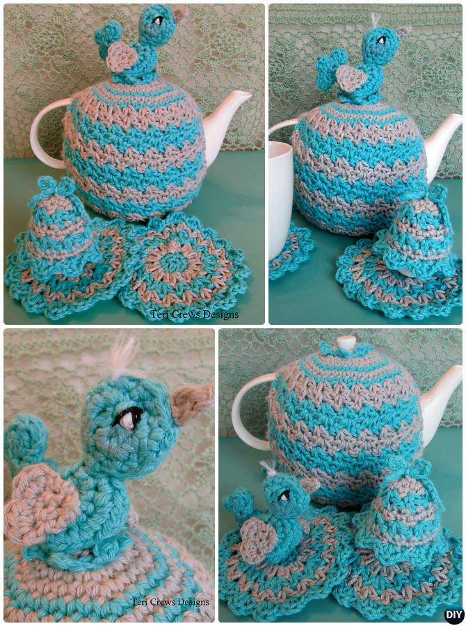 Crochet Egg Bird Tea Cosy Free Pattern-Crochet Knit Tea Cozy Free Patterns