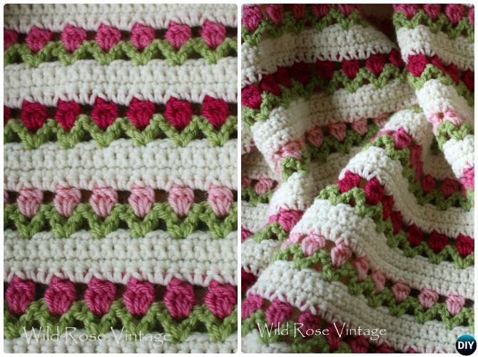 Crochet Flower In A Row Afghan Blanket Free Pattern