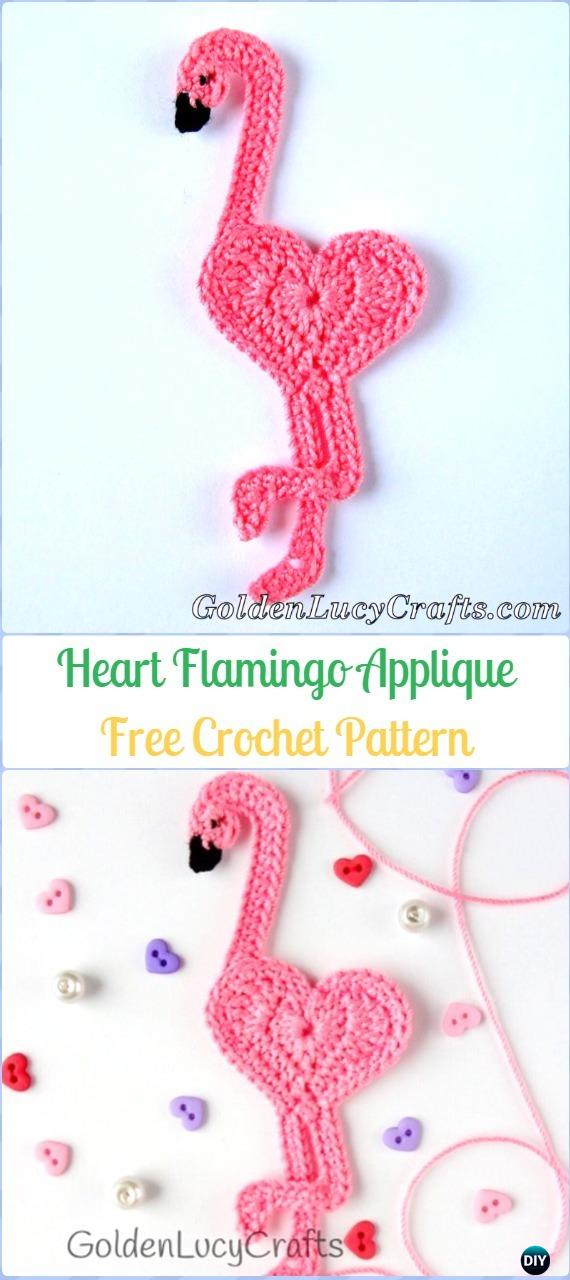 Crochet Flamingo Applique Free Pattern - Crochet Heart Shaped Applique Free Patterns By Golden Lucy Crafts