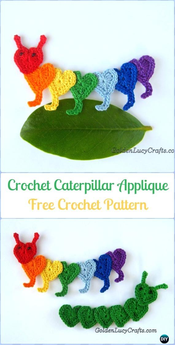 Crochet Caterpillar Applique Free Pattern - Crochet Heart Shaped Applique Free Patterns By Golden Lucy Crafts