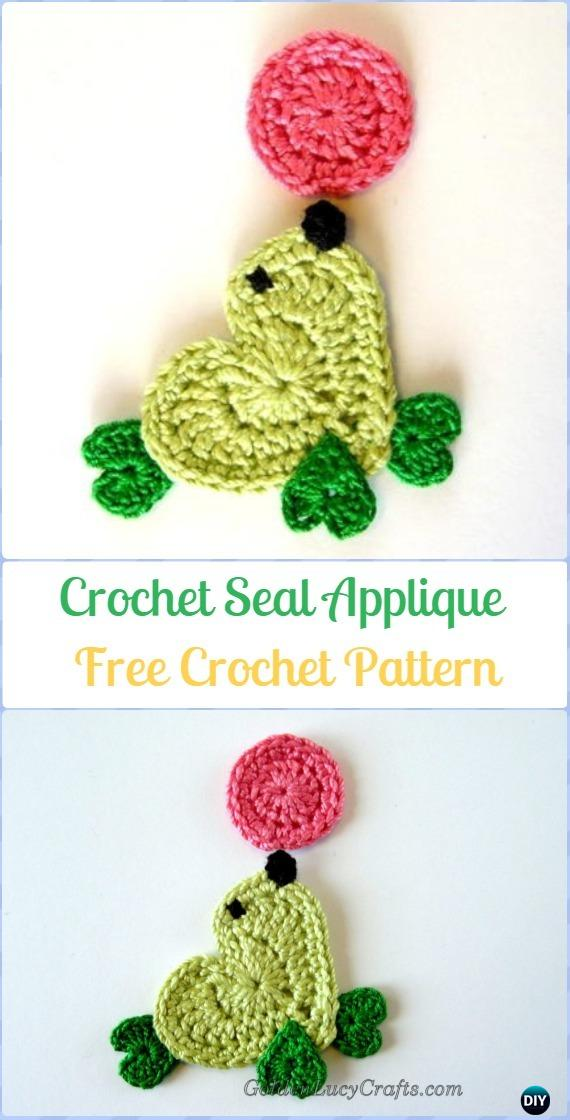 Crochet Seal Applique Free Pattern - Crochet Heart Shaped Applique Free Patterns By Golden Lucy Crafts