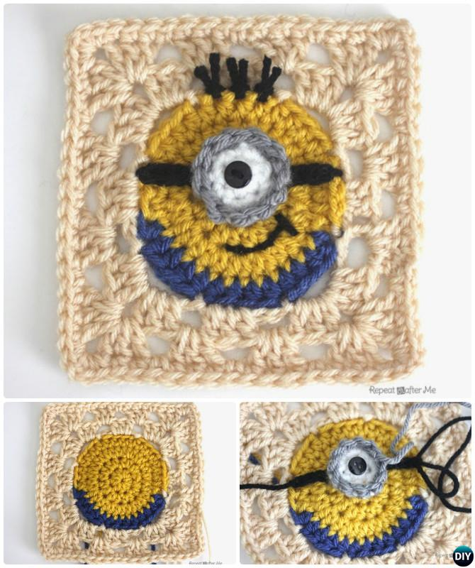 Crochet granny square free patterns crochet minion granny square free pattern dt1010fo