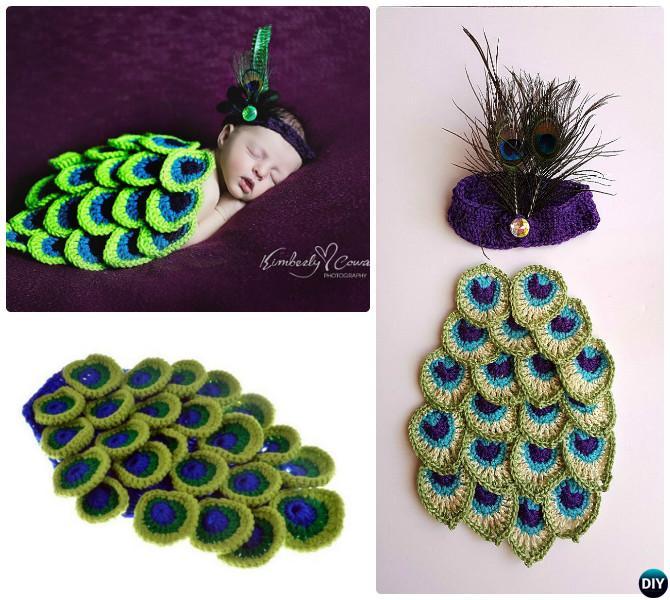 Crochet Peacock Photography Prop Set