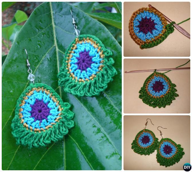 Crochet Peacock Earring Free Pattern-10 Crochet Peacock Projects Free Patterns