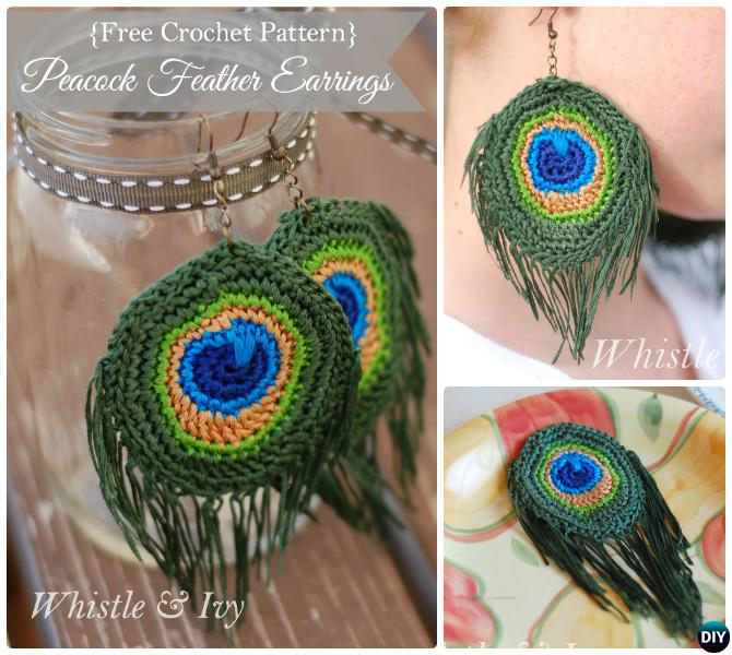 Crochet Peacock Earring Pattern Free-10 Crochet Peacock Projects Free Patterns