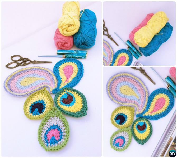 Crochet Peacock Motif-10 Crochet Peacock Feather Projects Free Patterns