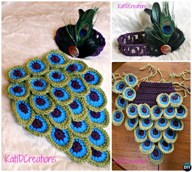 Crochet Peacock Feather Baby Cocoon Photo Prop-10 Crochet Peacock Feather Projects Free Patterns