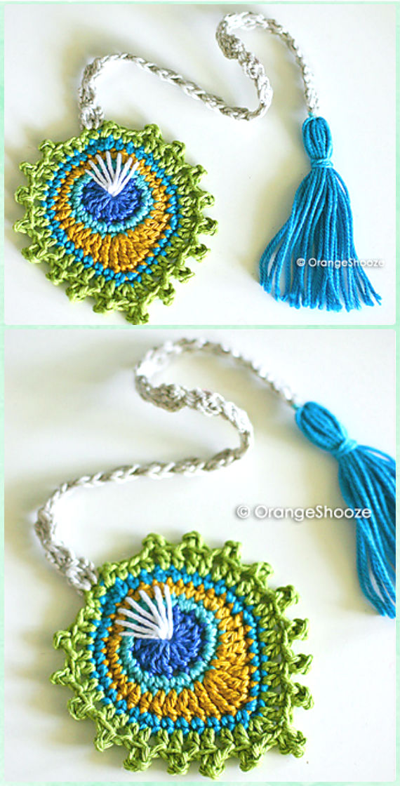Crochet Peacock Feather Motif Bookmark Paid Pattern -10 Crochet Peacock Projects Free Patterns