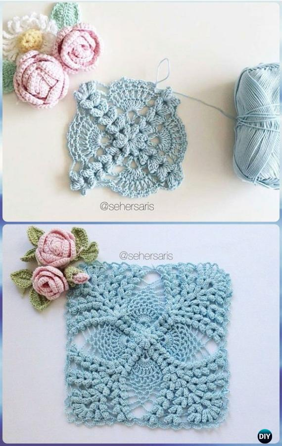 Crochet Pearl Flower Popcorn Square Motif Free Patterns
