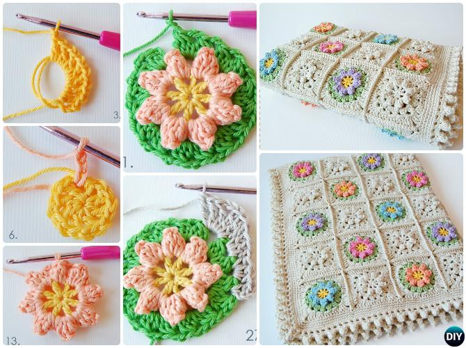 Crochet Flower Blanket Free Pattern Round Up