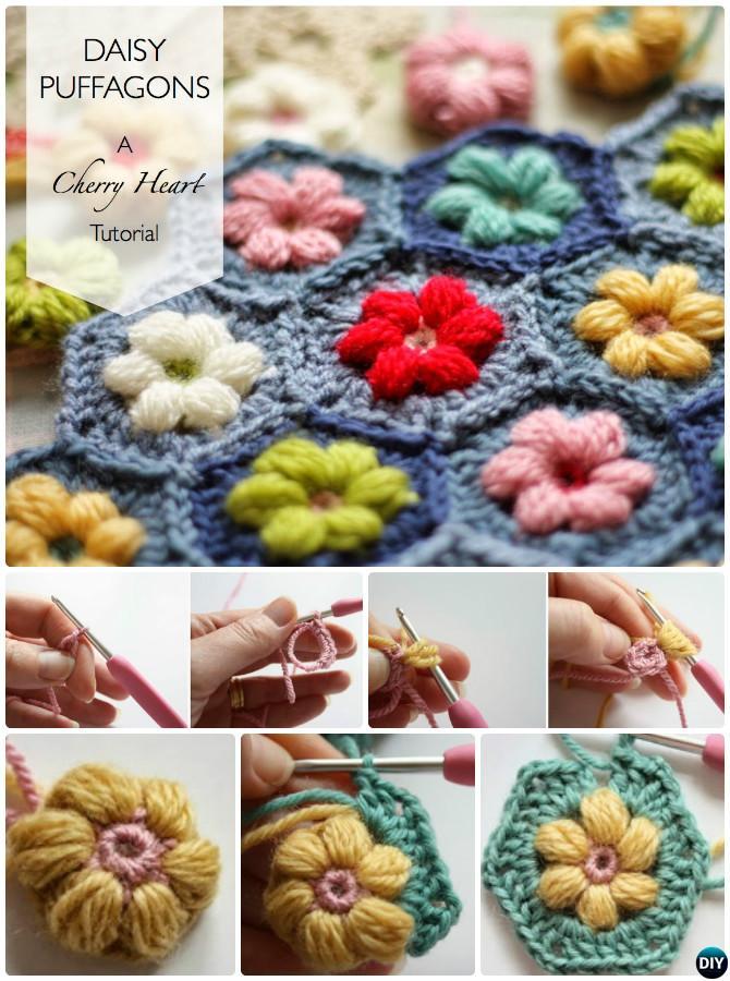 Crochet Puffagon Daisy Flower Blanket Free Pattern