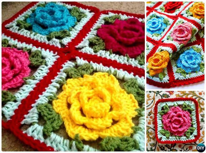 Crochet Rose Motif Flower Blanket Free Pattern