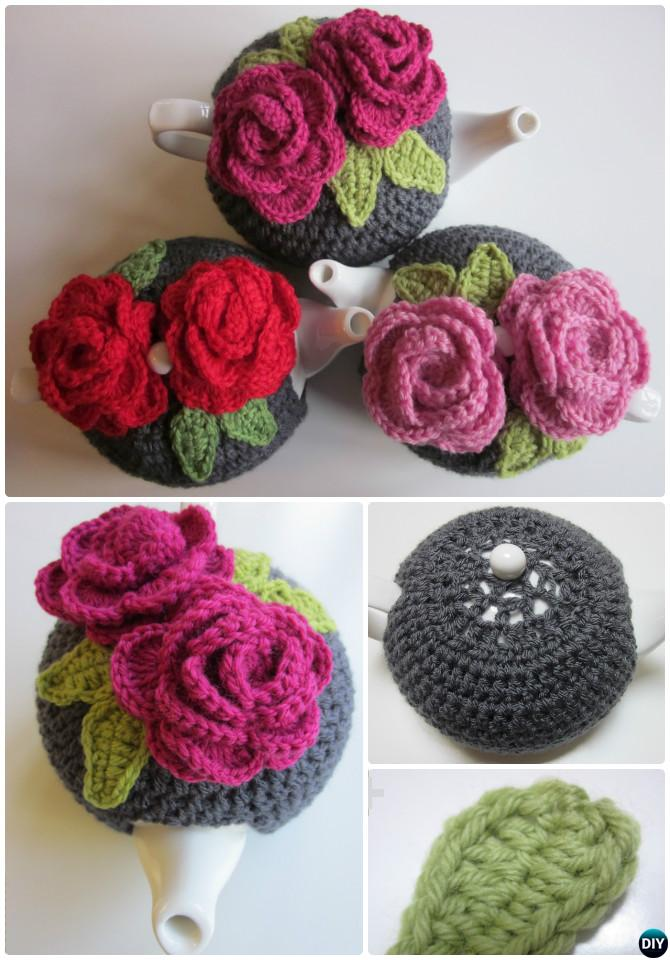 Crochet Rose Tea Cozy Free Pattern-20 Crochet Knit Tea Cozy Free Patterns