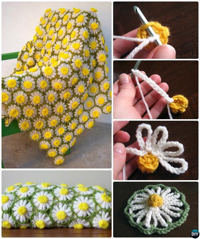 Crochet Vintage Daisy Motif Flower Blanket Free Pattern
