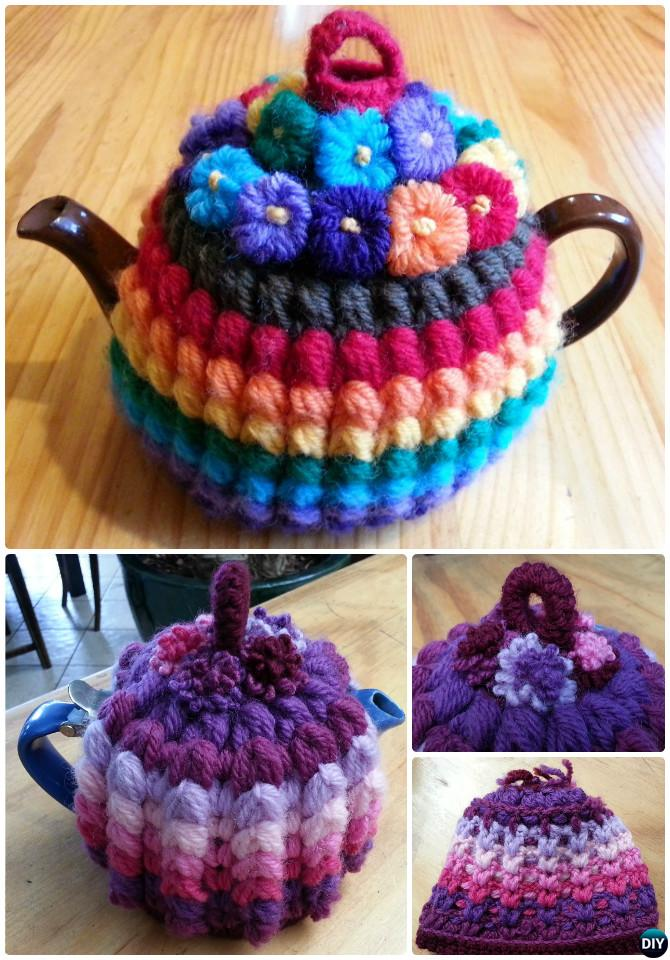 Crochet Vintage Puffy Stitch Rib Tea Cozy Free Pattern-20 Crochet Knit Tea Cozy Free Patterns