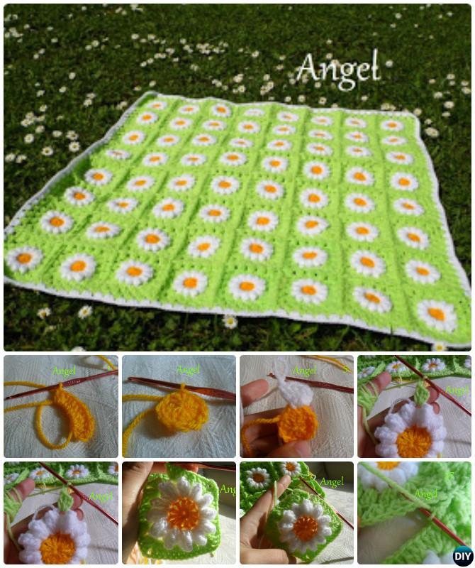 Crochet Wild Daisy Flower Blanket Free Pattern