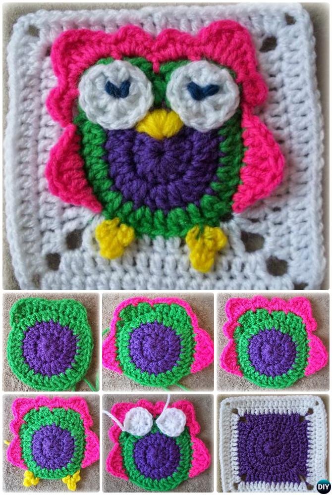 Crochet Zooty Owl Granny Square Free Pattern