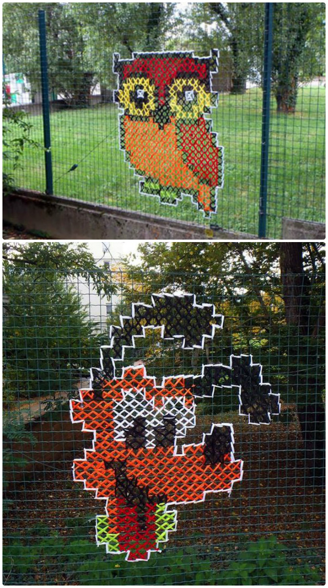 Cross Stitch On Chain Link Fences Street Art 20 Fence Decoration Makeover DIY Ideas DIYHowto