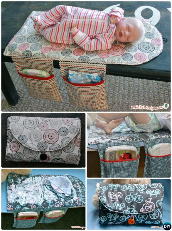 DIY Baby Changing Pad Travel Clutch Bag Sew Pattern Picture Instructions with Video