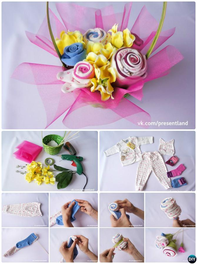 DIY Baby Onesie Clothes Flower Bouquet Basket-Handmade Baby Shower Gift Ideas Instructions