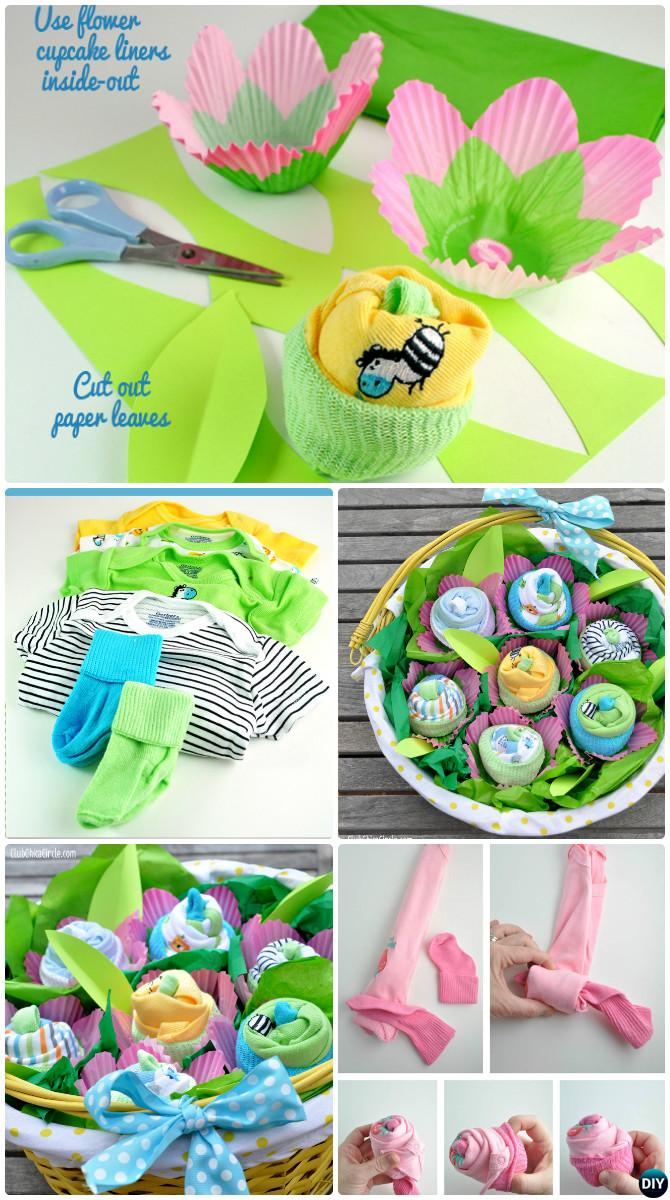 Diy Baby Onesies Flower Gift Basket Handmade Baby Shower Gift Ideas