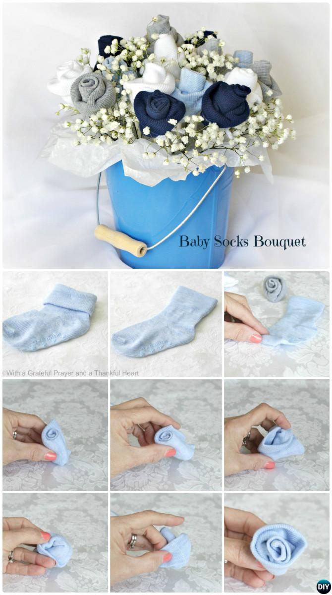 Handmade baby shower gift ideas picture instructions diy baby socks flower bouquet handmade baby shower gift ideas instructions negle Images