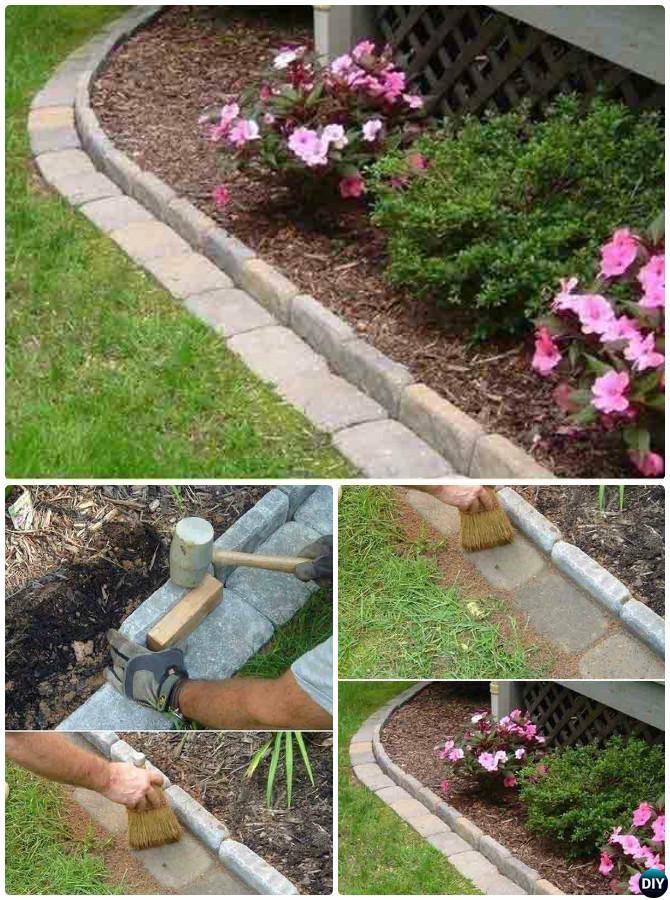 DIY Brick Garden Edging   20 Creative Garden Bed Edging Ideas Projects  Instructions