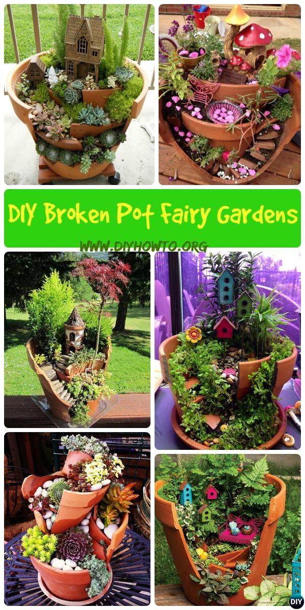 Think twice before dumping your broken pots, they can turn out to be useful and beautiful garden decorations as these DIY Broken Clay Pot Fairy Gardens.
