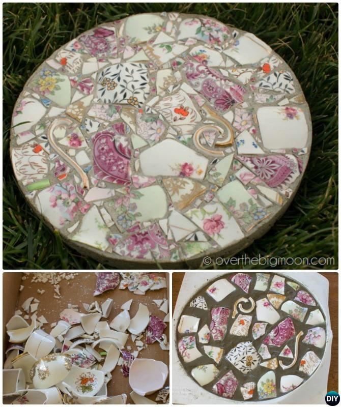 DIY Broken Dish Cake Pan Stepping Stone Pathway Instructions