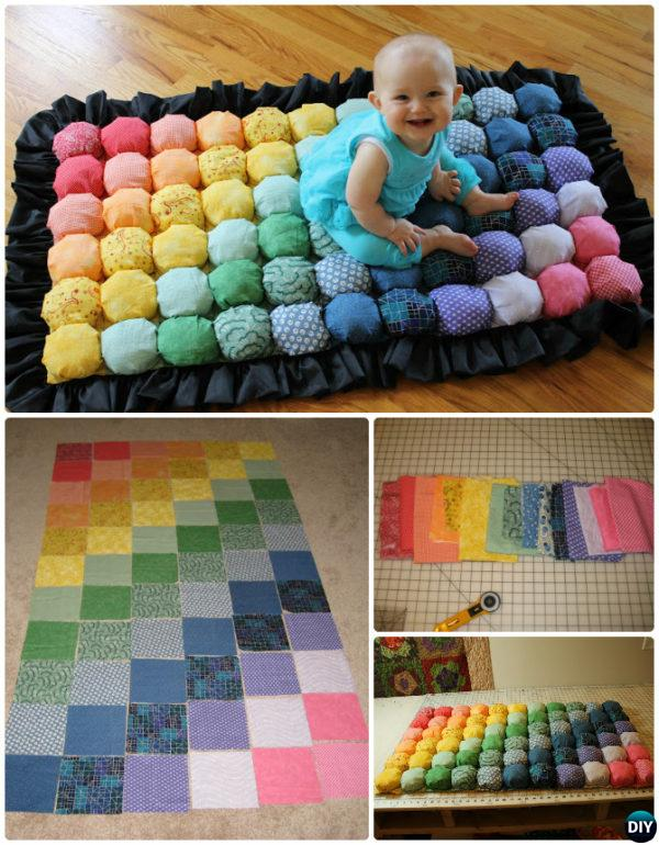 DIY Bubble Quilt Baby Rug Instruction-20 No Crochet DIY Rug Ideas Projects