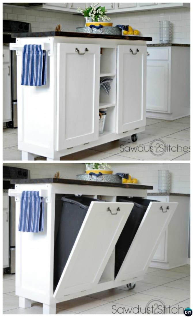 DIY Cabinet Kitchen Island with Tilt Out Trash Can-Smart Ways to Hide Your Trash Can
