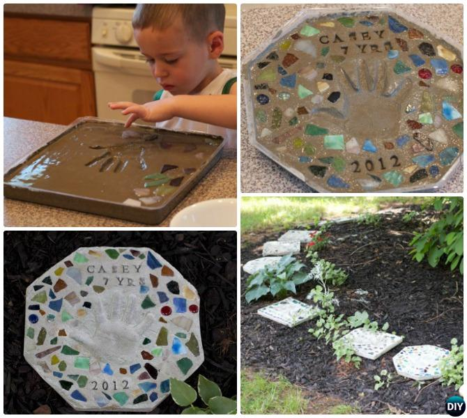 DIY Cake Pan Handprint Stepping Stone with Kids Instructions