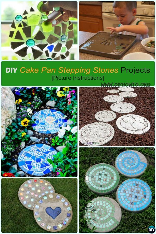DIY Cake Pan Stepping Stones Projects, Different Materials, Ways and Patterns to Make Your Stepping Stone Garden Pathway different.