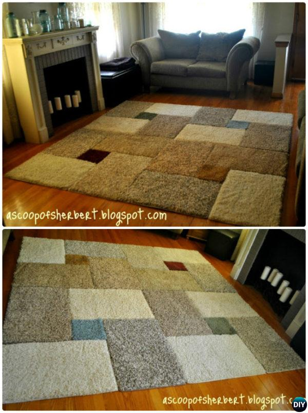 DIY Carpet Square Area Rug-20 No Crochet DIY Rug Ideas Instructions