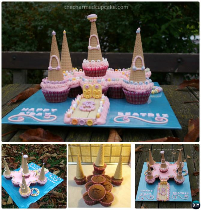 DIY Castle Pull Apart Cupcake Cake-20 Gorgeous Pull Apart Cupcake Cake Designs For Any Party