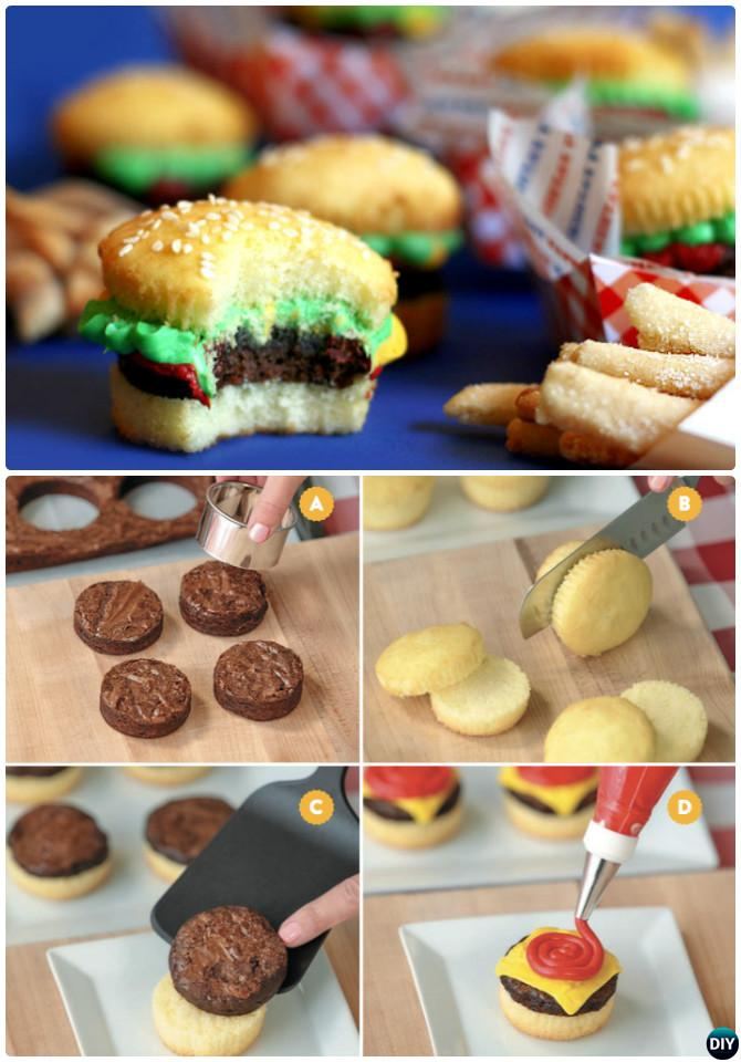 DIY Cheeseburger Cupcake-50 Most Surprising Cupcake Decoration Ideas and Recipes
