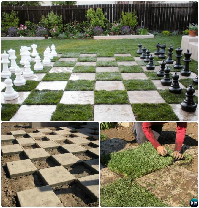 DIY Chessboard Patio -20 DIY Summer Outdoor Games For Kids Adults