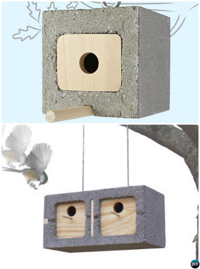 DIY Cinder Block Birdhouse-10 Simple Cinder Block Garden Projects