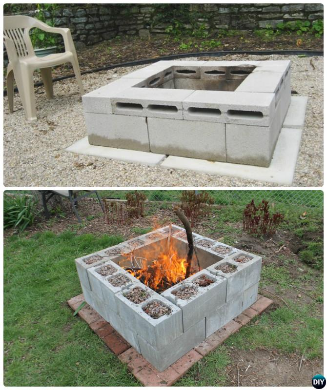 Diy cinder block garden projects instructions for How to build a fire pit with concrete blocks