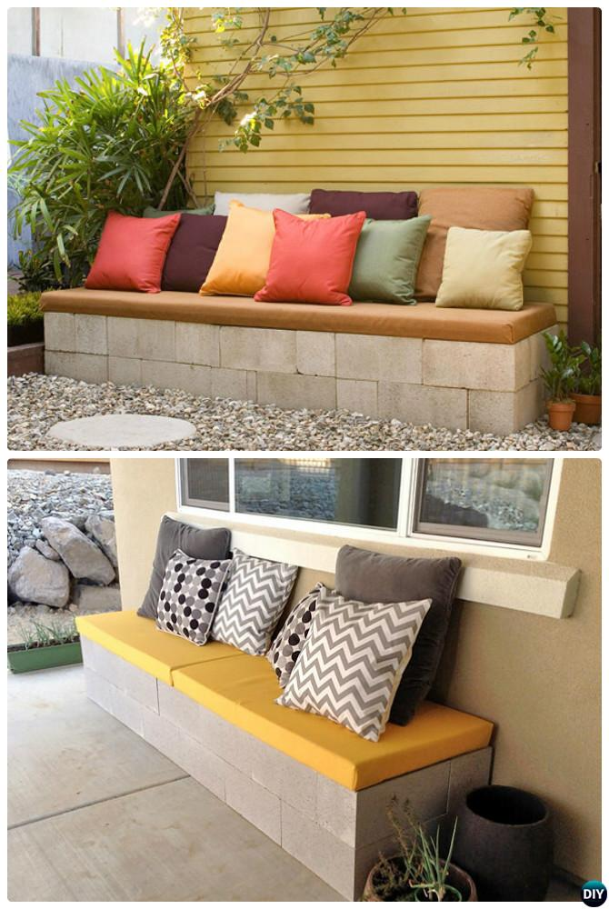 DIY Cinder Block Garden Bench-10 Simple Cinder Block Garden Projects